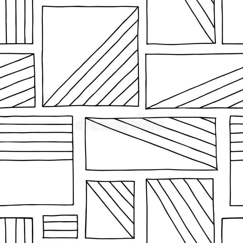 Modelo inconsútil del vector Fondo exhausto de la mano geométrica blanco y negro con los rectángulos, cuadrados Impresión simple  libre illustration