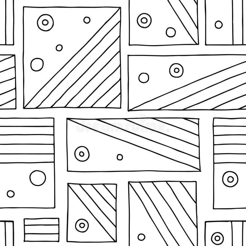 Modelo inconsútil del vector Fondo exhausto de la mano geométrica blanco y negro con los rectángulos, cuadrados, puntos Impresión stock de ilustración