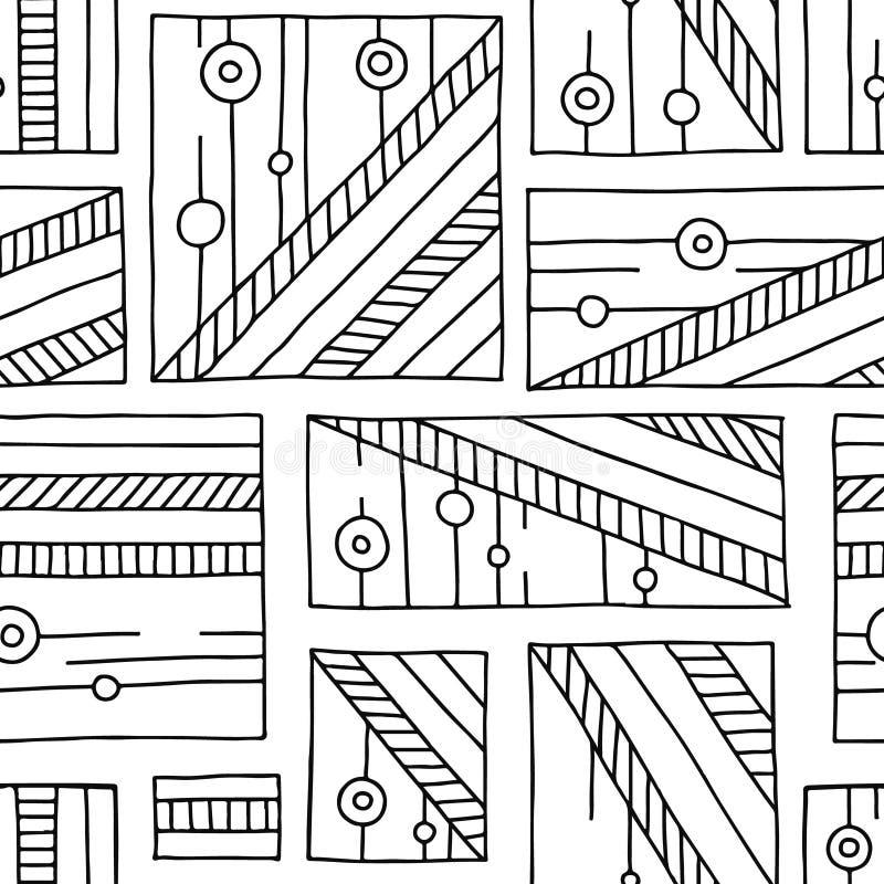 Modelo inconsútil del vector Fondo exhausto de la mano geométrica blanco y negro con los rectángulos, cuadrados, puntos Impresión libre illustration