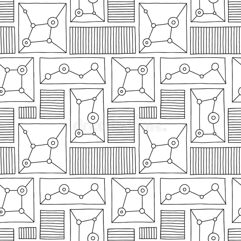 Modelo inconsútil del vector Fondo exhausto de la mano geométrica blanco y negro con los rectángulos, cuadrados, puntos Impresión ilustración del vector