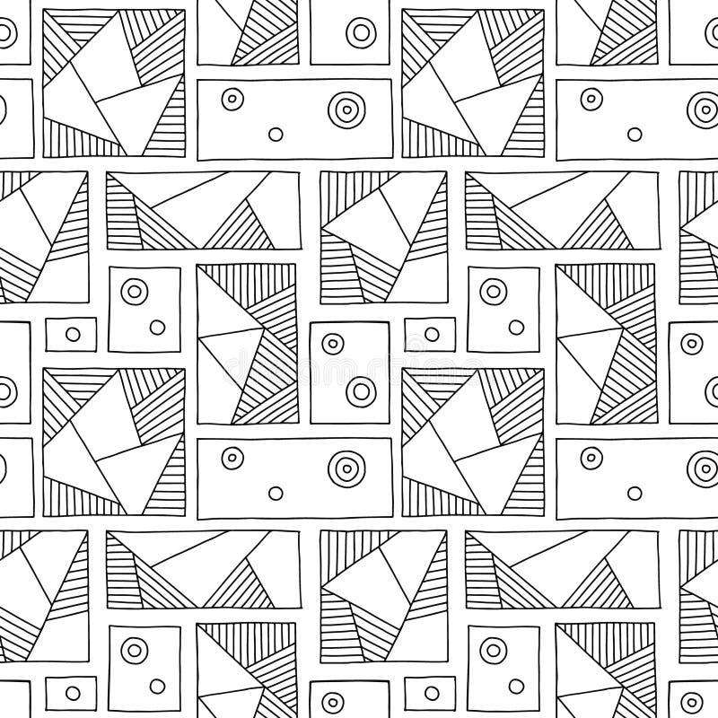Modelo inconsútil del vector Fondo exhausto de la mano geométrica blanco y negro con los rectángulos, cuadrados, triángulos, punt ilustración del vector