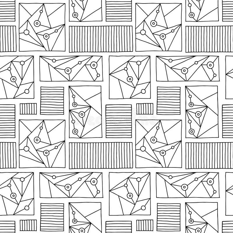 Modelo inconsútil del vector Fondo exhausto de la mano geométrica blanco y negro con los rectángulos, cuadrados, triángulos, punt stock de ilustración