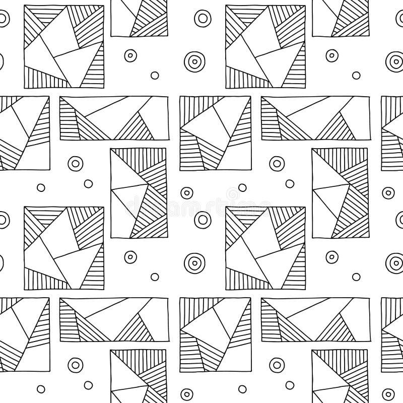 Modelo inconsútil del vector Fondo exhausto de la mano geométrica blanco y negro con los rectángulos, cuadrados, triángulos, punt libre illustration