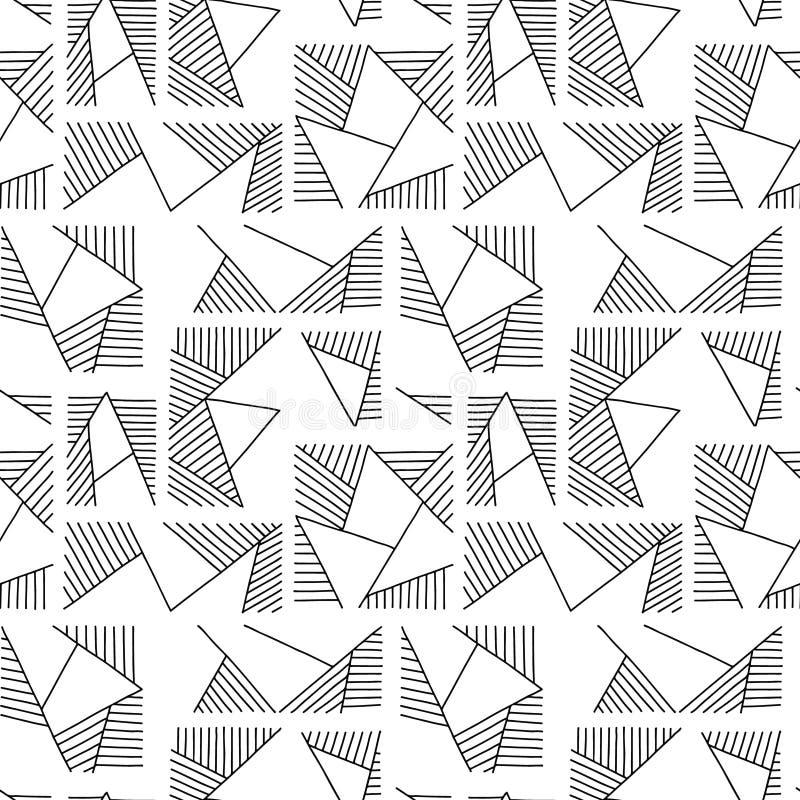 Modelo inconsútil del vector Fondo exhausto de la mano geométrica blanco y negro con los rectángulos, cuadrados, triángulos Impre stock de ilustración