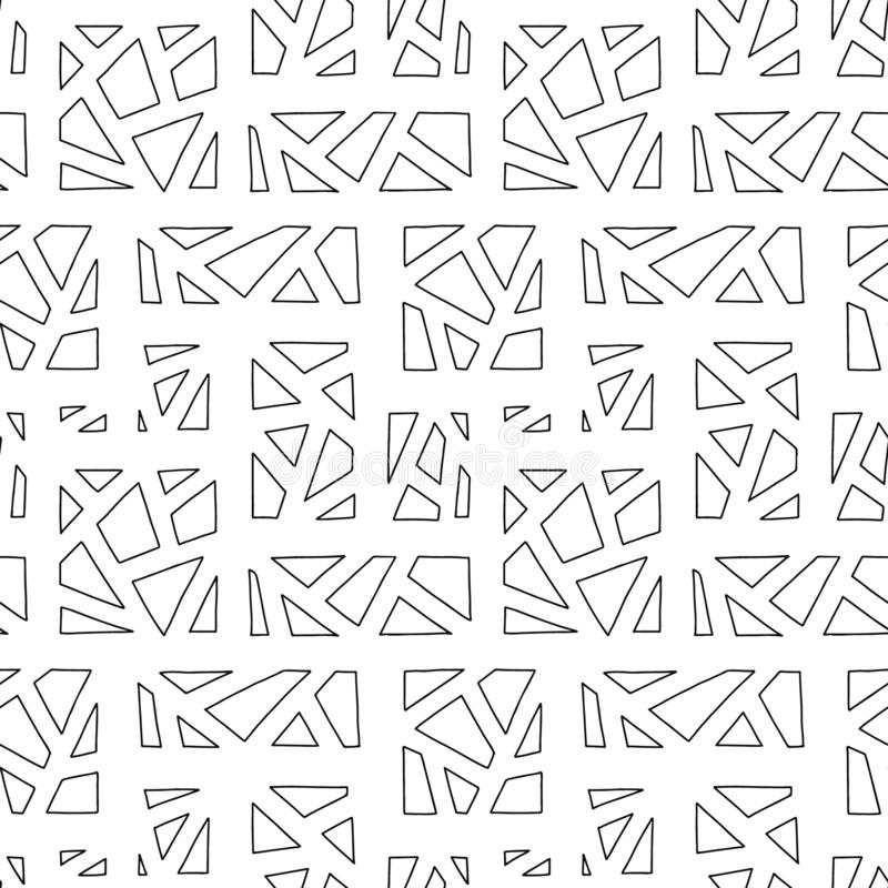 Modelo inconsútil del vector Fondo exhausto de la mano geométrica blanco y negro con los rectángulos, cuadrados, triángulos Impre libre illustration