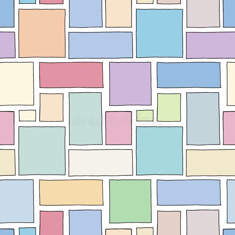 Modelo inconsútil del vector Fondo exhausto de la mano geométrica colorida con los rectángulos, cuadrados Impresión simple para e stock de ilustración