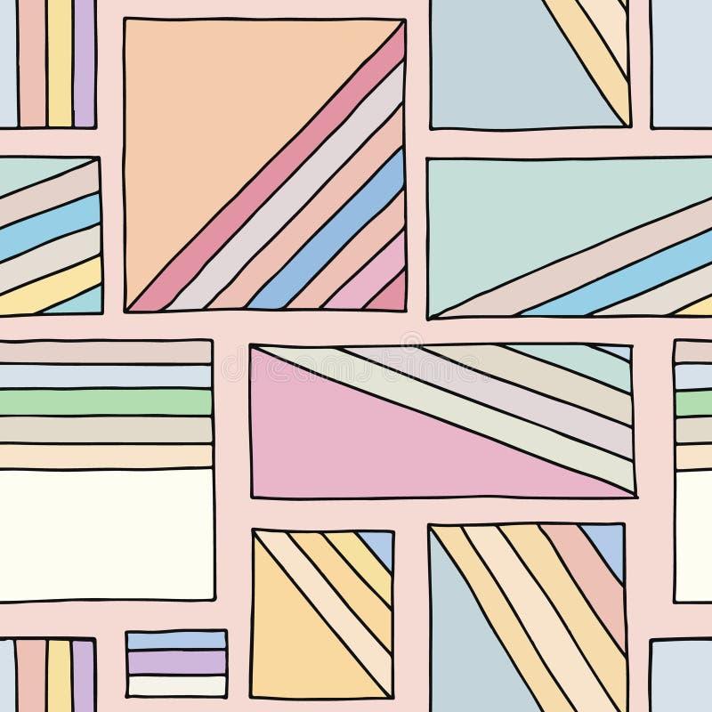 Modelo inconsútil del vector Fondo exhausto de la mano geométrica colorida con los rectángulos, cuadrados Impresión simple para e libre illustration