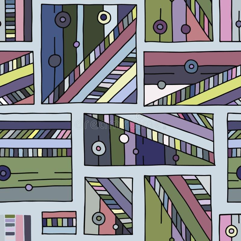 Modelo inconsútil del vector fondo exhausto de la mano geométrica colorida con los rectángulos, cuadrados, puntos Impresión para  libre illustration