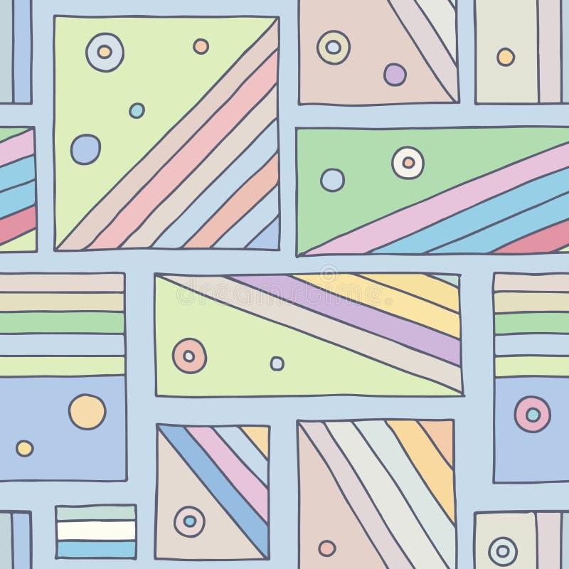 Modelo inconsútil del vector fondo exhausto de la mano geométrica colorida con los rectángulos, cuadrados, puntos Impresión para  stock de ilustración