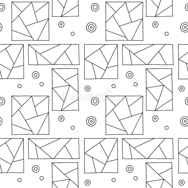 Modelo inconsútil del vector Fondo exhausto de la mano geométrica triangular blanco y negro con los rectángulos, cuadrados, punto libre illustration