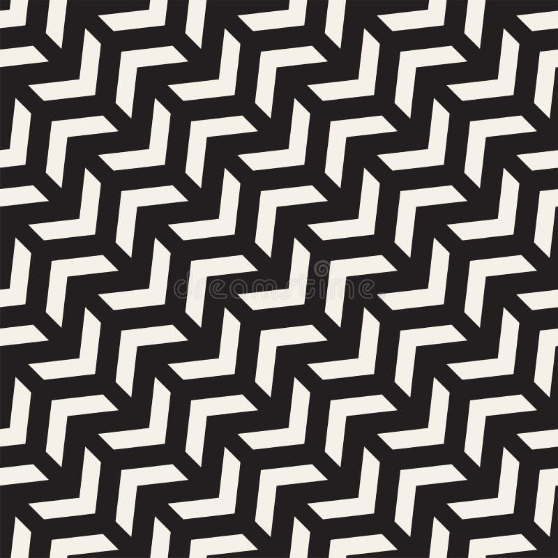 Modelo inconsútil del vector Fondo geométrico abstracto del enrejado Estructura rítmica del zigzag Textura monocromática con stock de ilustración