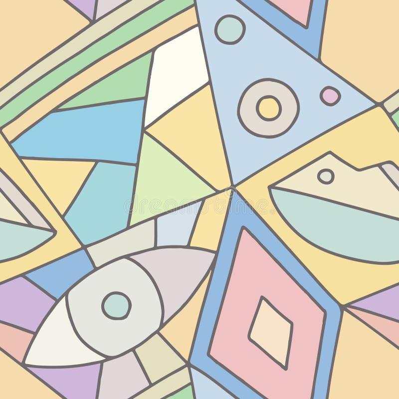 Modelo inconsútil del vector, fondo geométrico asimétrico alineado rosa con el Rhombus, triángulos Impresión para la decoración,  ilustración del vector
