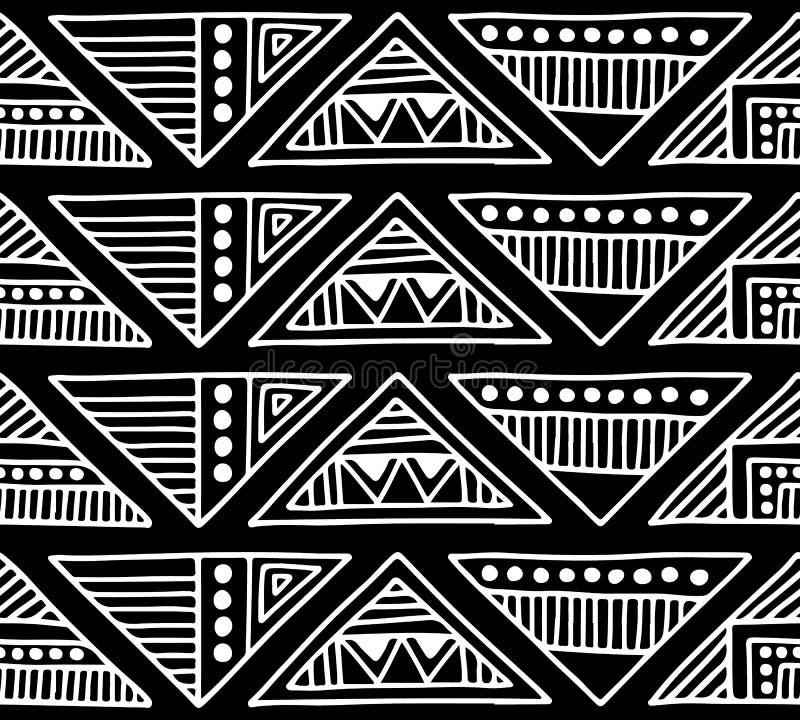 Modelo inconsútil del vector Fondo geométrico blanco y negro con los elementos tribales decorativos dibujados mano Impresión con  stock de ilustración