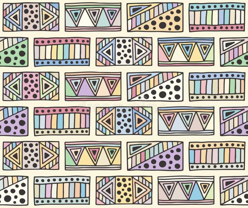 Modelo inconsútil del vector fondo geométrico con los elementos tribales decorativos exhaustos de la mano Impresión con étnico, p stock de ilustración