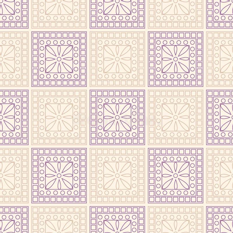 Modelo inconsútil del vector Fondo geométrico simétrico con los cuadrados y los círculos rosados y violetas Ornamento decorativo stock de ilustración