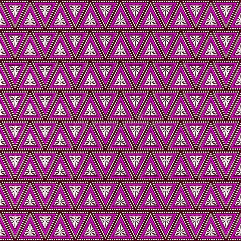 Modelo inconsútil del vector Fondo geométrico simétrico con los triángulos en los colores violetas Ornamento de repetición decora stock de ilustración