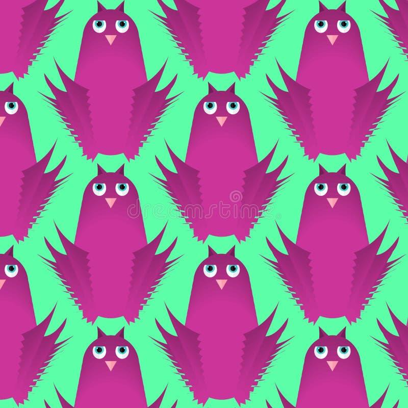 Modelo inconsútil del vector, fondo plano lindo infantil del diseño con los pájaros divertidos del búho ilustración del vector