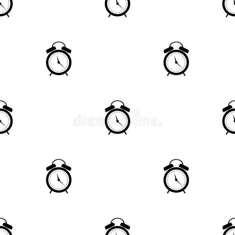 Modelo inconsútil del vector Fondo simétrico con los despertadores negros en el fondo blanco stock de ilustración