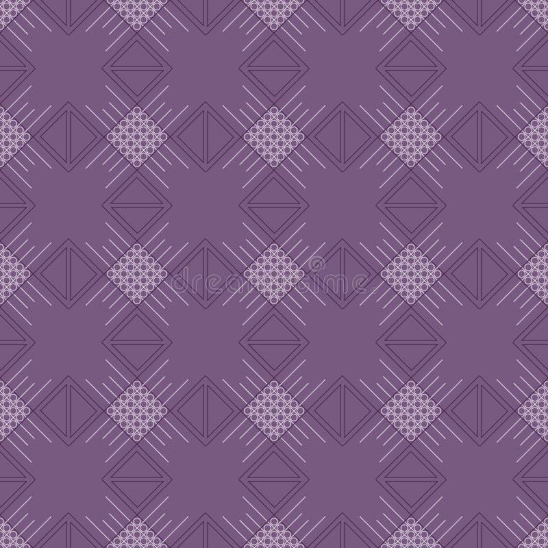Modelo inconsútil del vector Fondo violeta geométrico simétrico con el Rhombus y las líneas Ornamento de repetición decorativo libre illustration