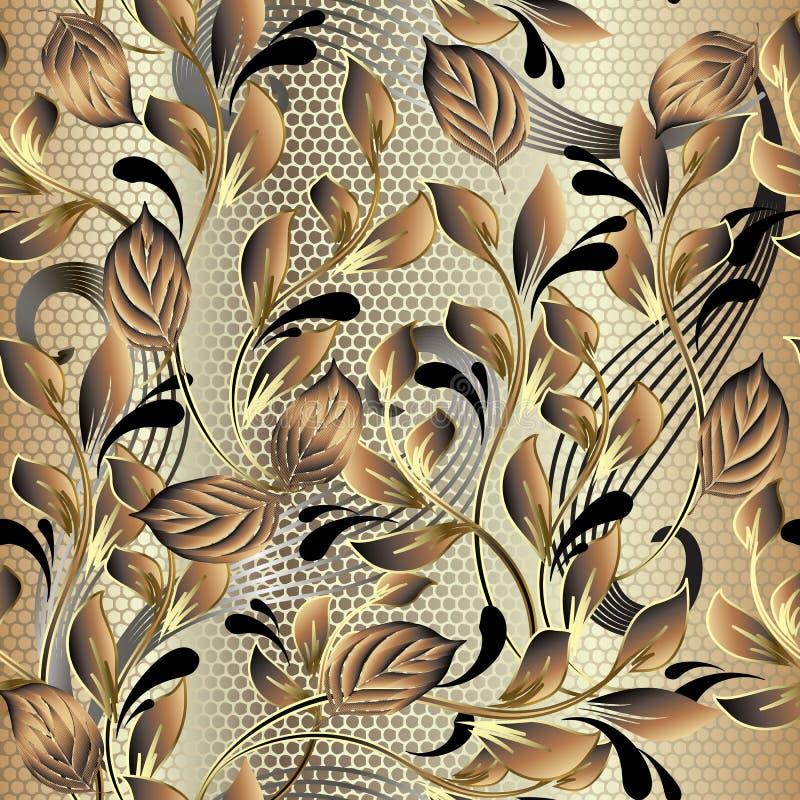 Modelo inconsútil del vector frondoso adornado del oro 3d Fondo floral del cordón Repita el contexto ornamental del enrejado de l libre illustration