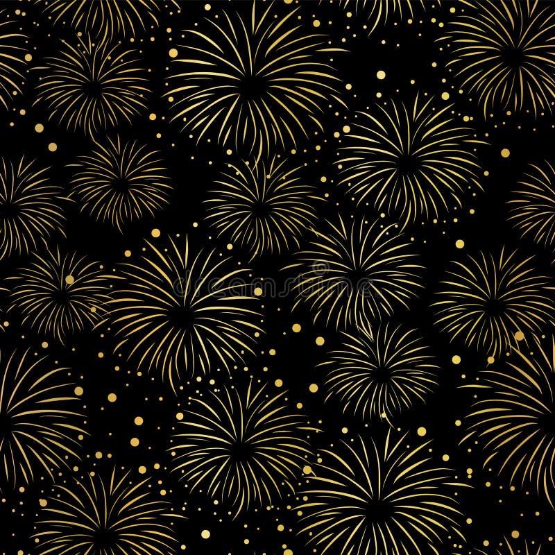 Modelo inconsútil del vector del fuego artificial La hoja de oro aisló Fuegos artificiales brillantes metálicos en fondo negro stock de ilustración