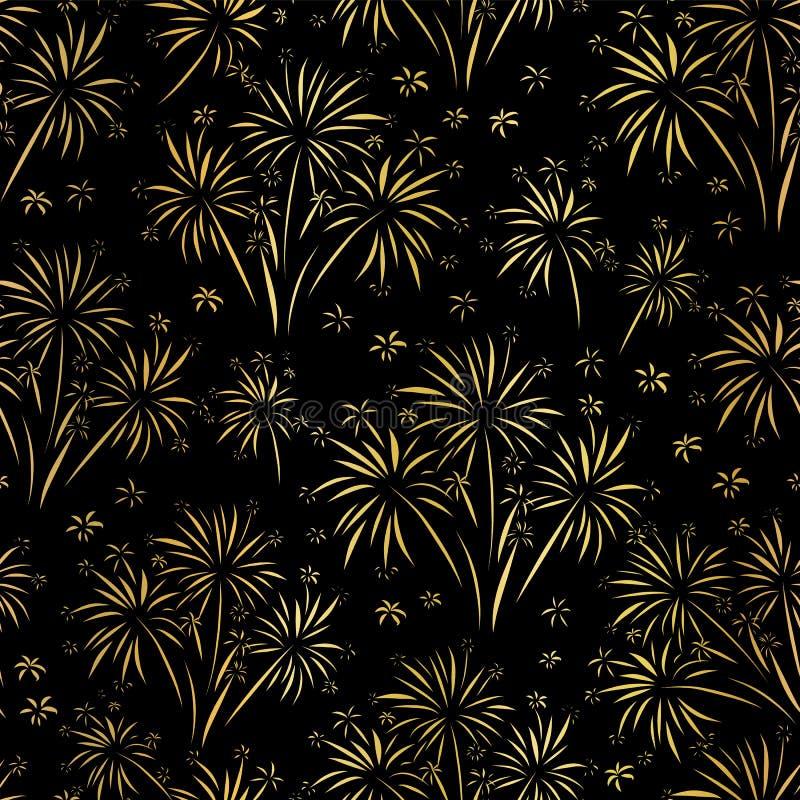 Modelo inconsútil del vector del fuego artificial La hoja de oro aisló Fuegos artificiales brillantes metálicos en fondo negro La ilustración del vector