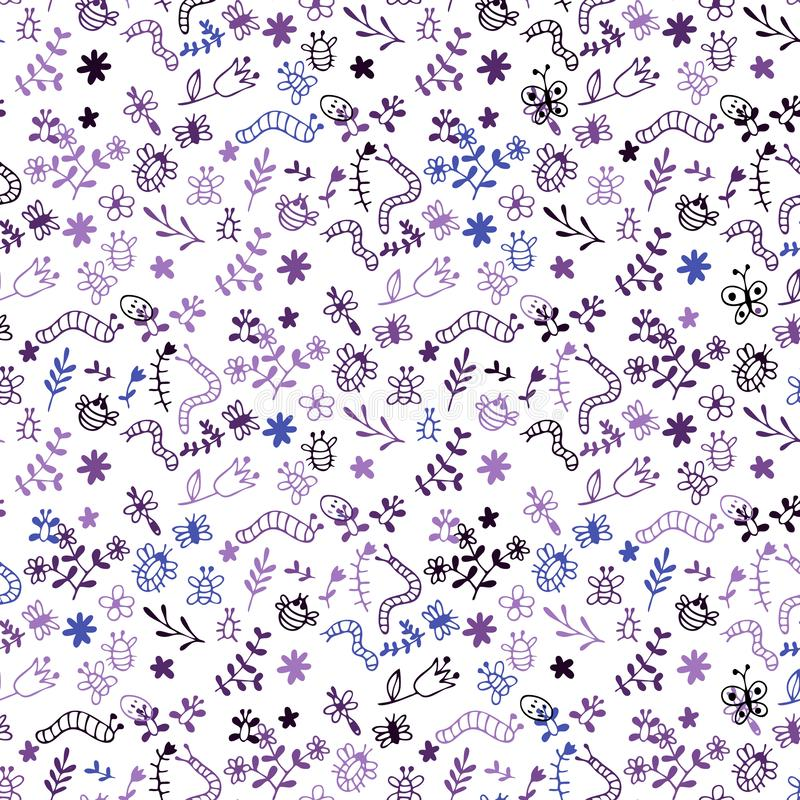 Modelo inconsútil del vector del garabato: insectos, arañas, mariposas, libélula, abeja, oruga, hierba, flores stock de ilustración