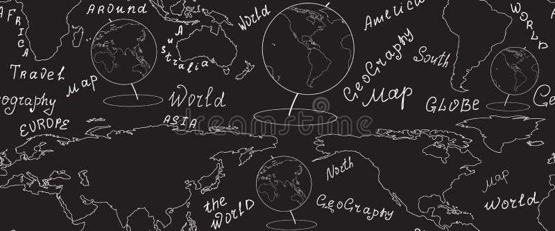Modelo inconsútil del vector geográfico con el mapa del mundo y globos manuscritos por la tiza en tablero gris ilustración del vector
