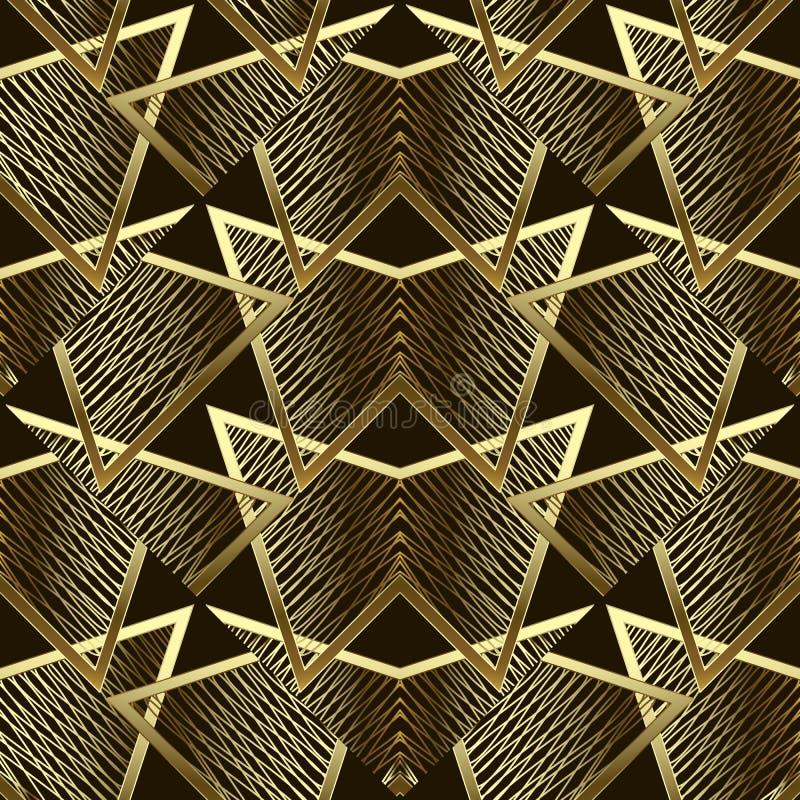 Modelo inconsútil del vector geométrico abstracto del oro Fondo de oro de los triángulos de la rejilla Contexto moderno creativo  stock de ilustración