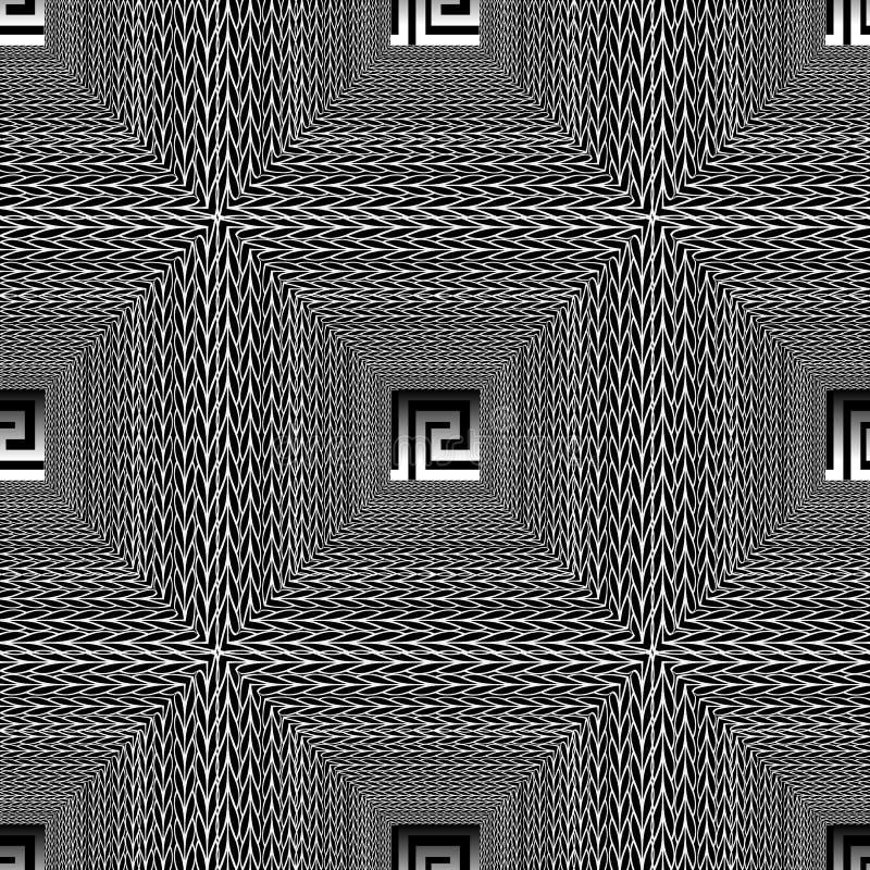 Modelo inconsútil del vector geométrico blanco y negro a cuadros del zigzag ornamento dominante griego de los meandros 3d Formas  ilustración del vector
