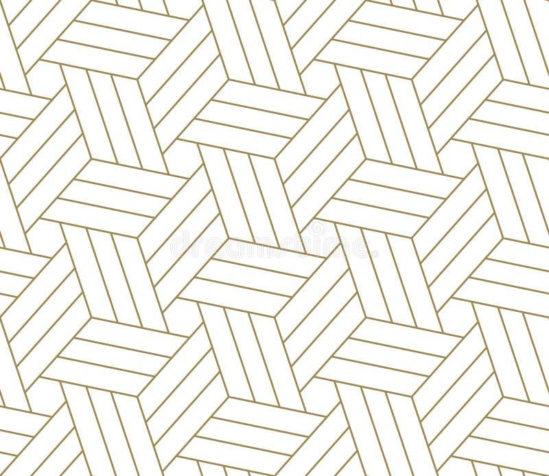 Modelo inconsútil del vector geométrico simple moderno con la línea textura del oro en el fondo blanco Papel pintado abstracto li libre illustration