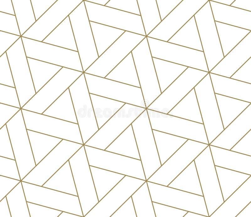 Modelo inconsútil del vector geométrico simple moderno con la línea textura del oro en el fondo blanco Papel pintado abstracto li ilustración del vector