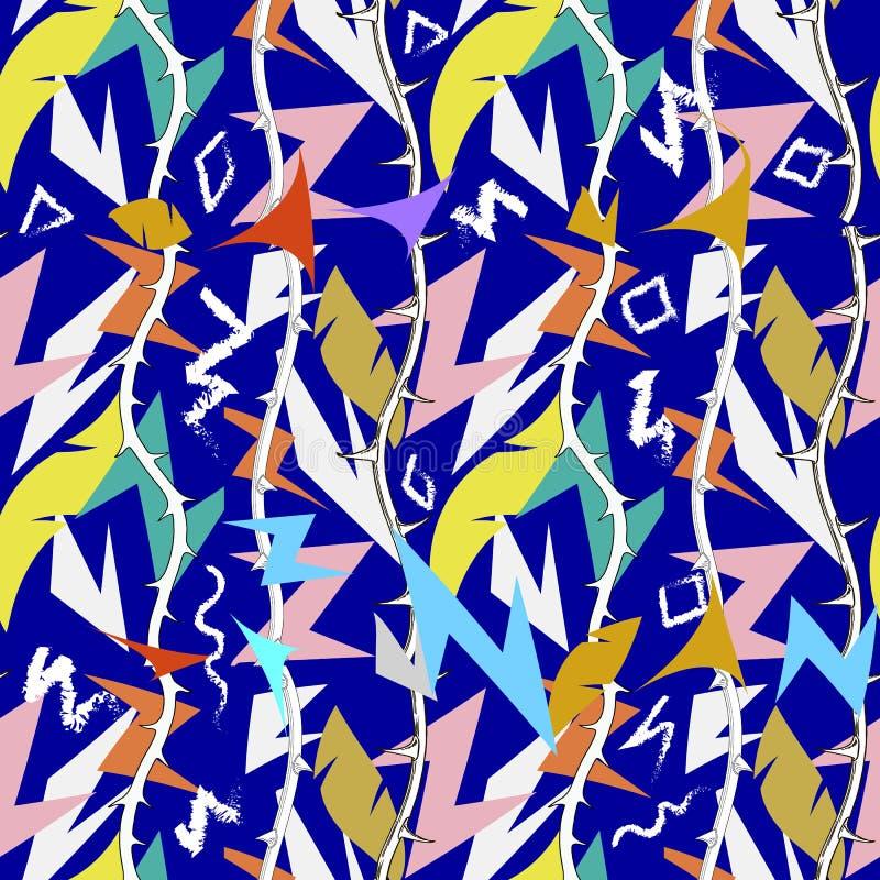 Modelo inconsútil del vector geométrico tribal colorido del zigzag del extracto Líneas complejas del zigzag Estilo étnico ornamen libre illustration