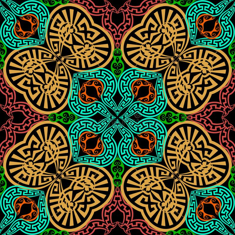 Modelo inconsútil del vector griego colorido ornamental Geométrico abstracto Repita el contexto étnico decorativo del estilo flor ilustración del vector