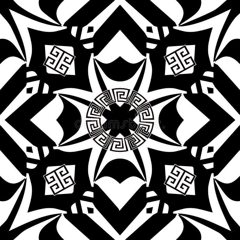 Modelo inconsútil del vector griego geométrico del estilo Negro abstracto ilustración del vector