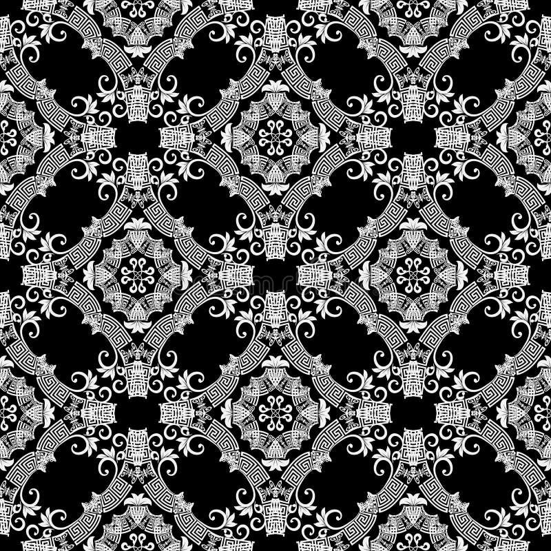 Modelo inconsútil del vector griego ornamental blanco y negro Abstra stock de ilustración