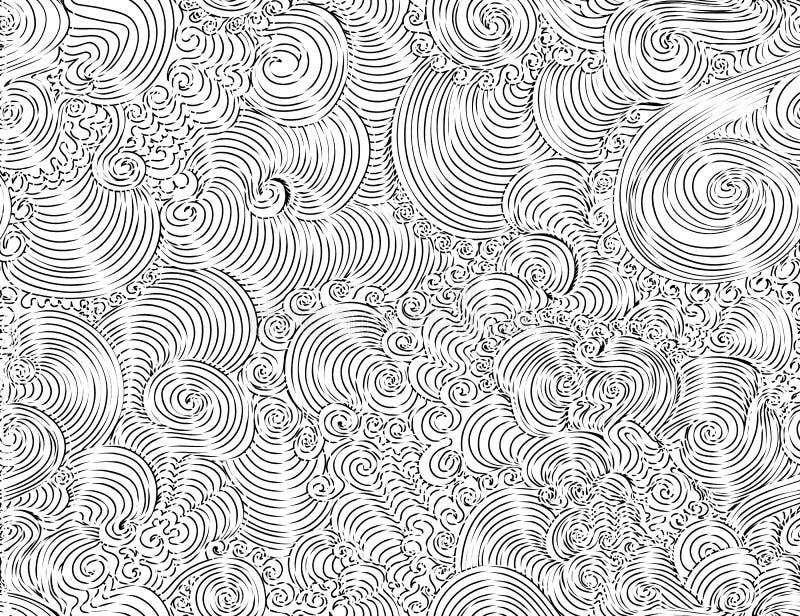 Modelo inconsútil del vector hermoso abstracto con los ornamentos que se encrespan decorativos, líneas, garabatos stock de ilustración