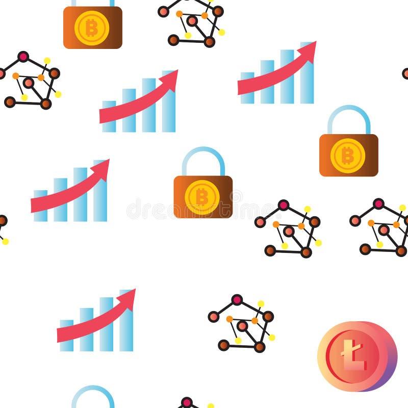 Modelo inconsútil del vector del icono de Cryptocurrency stock de ilustración