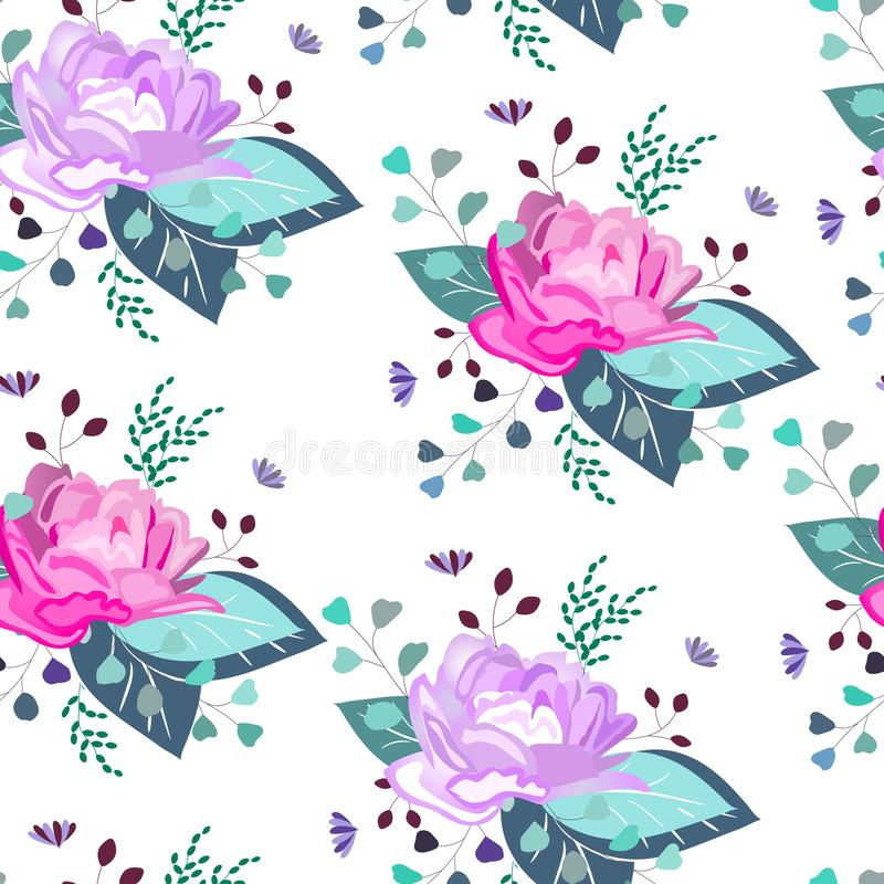Modelo inconsútil del vector, impresión, textura con las flores, hojas, ramas, verdor Composición botánica, floral, herbaria, sis stock de ilustración