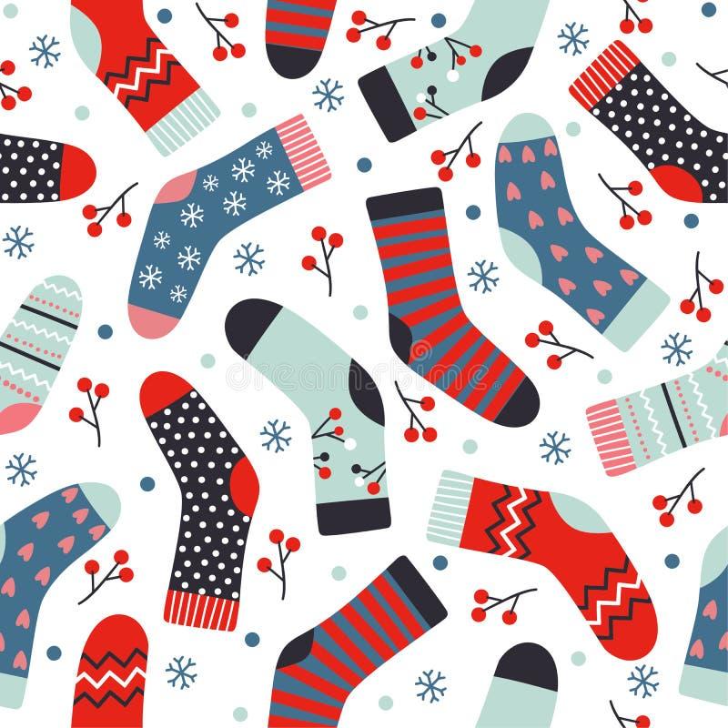 Modelo inconsútil del vector del invierno con los calcetines, las bayas y s hechos punto stock de ilustración