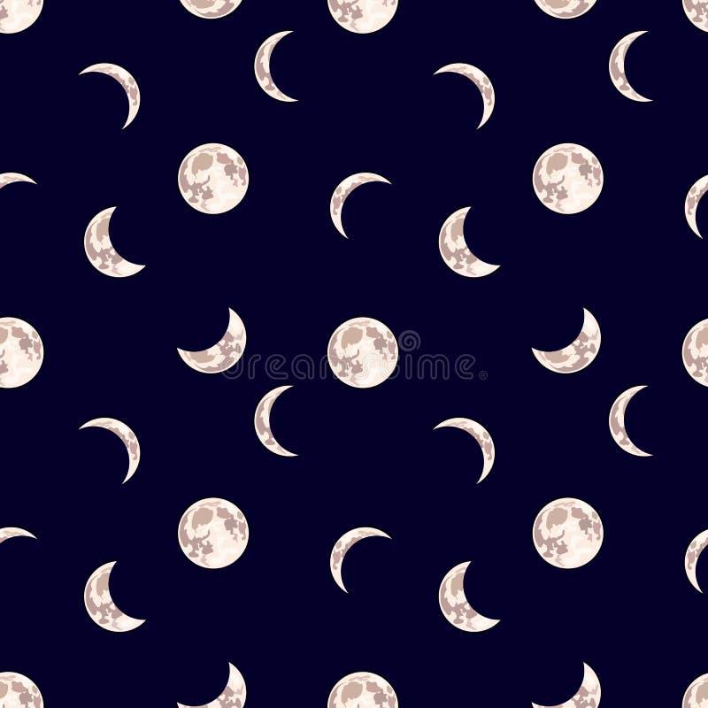 Modelo inconsútil del vector: Luna, fondo oscuro del cielo nocturno con diversa fase de luna stock de ilustración