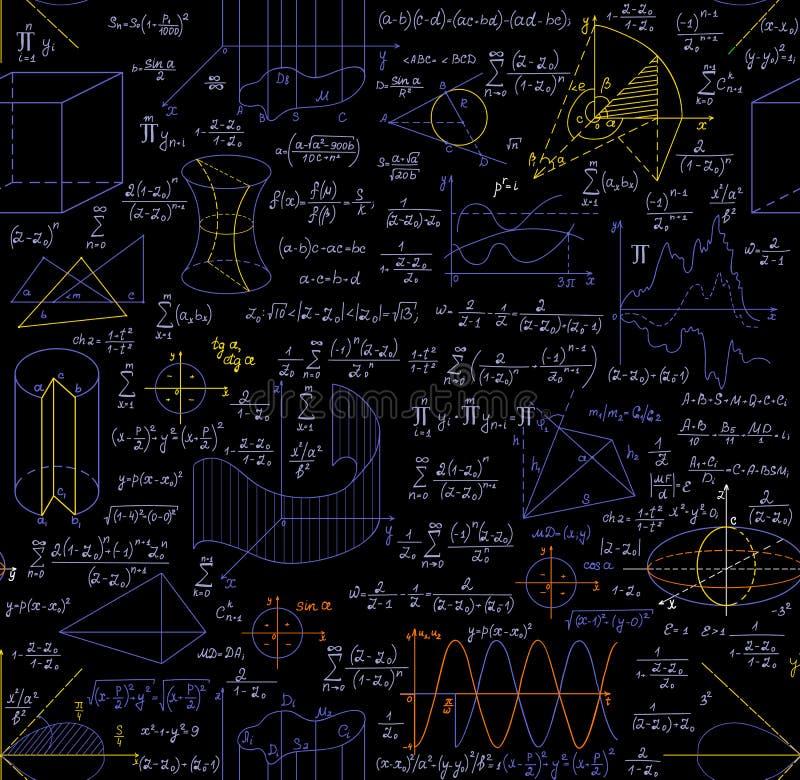 Modelo inconsútil del vector matemático con las figuras, las fórmulas, los diagramas, las tareas de la geometría y otros cálculos stock de ilustración