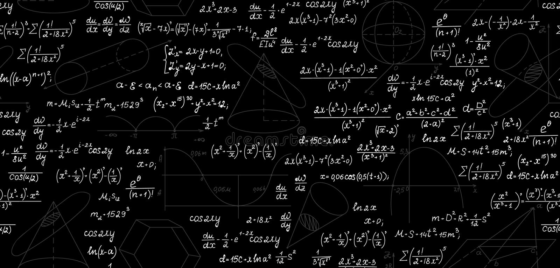 Modelo inconsútil del vector matemático con los diagramas, las figuras, las ecuaciones, las fórmulas y los cálculos geométricos T ilustración del vector
