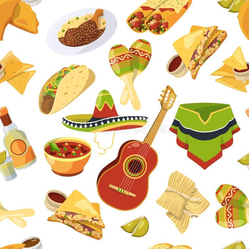 Modelo inconsútil del vector mexicano de la comida en el fondo blanco ilustración del vector