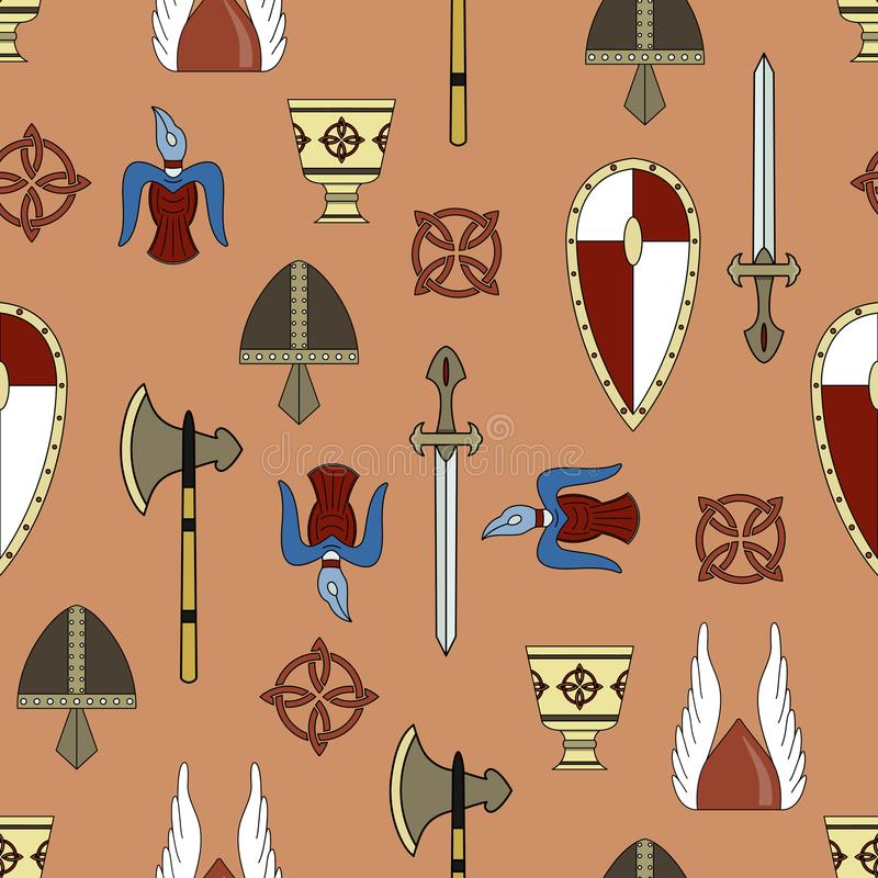 Modelo inconsútil del vector original sobre la vida de vikingos stock de ilustración