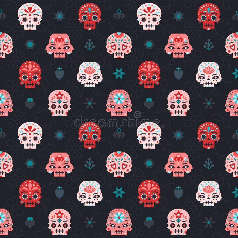 Modelo inconsútil del vector plano de los cráneos rojo, rosado y azul Parte dos stock de ilustración