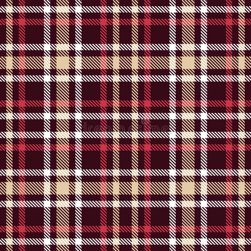 Modelo inconsútil del vector del tartán rojo y marrón Textura a cuadros de la tela escocesa stock de ilustración