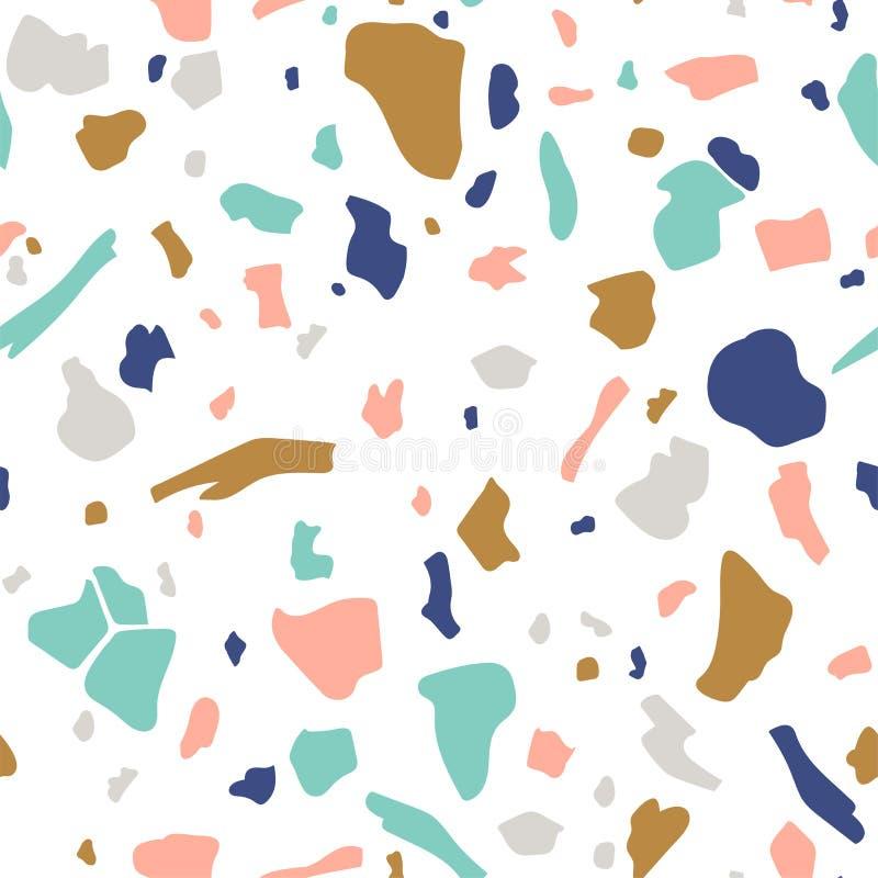 Modelo inconsútil del vector del terrazo Fondo abstracto con las manchas caóticas Diseño del collage ilustración del vector