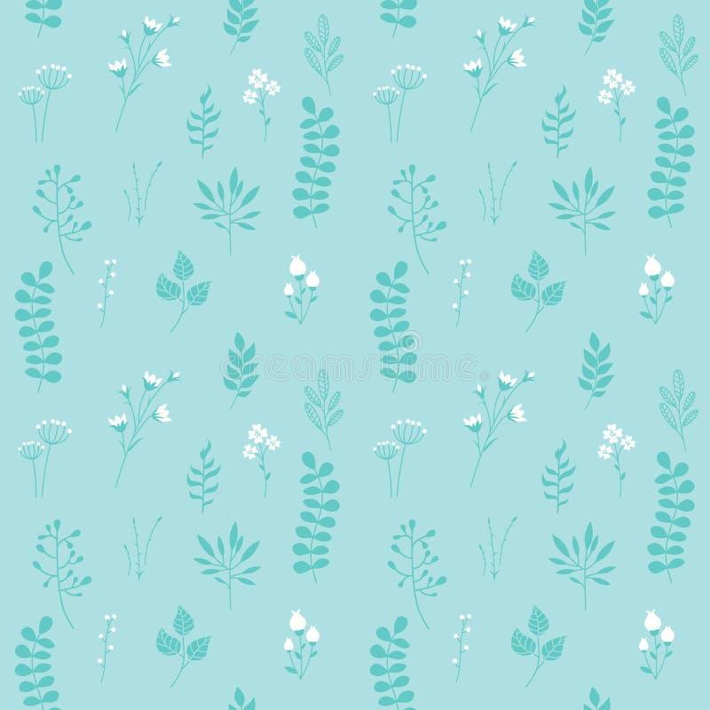 Modelo inconsútil del vector, textura floral con el azul ilustración del vector
