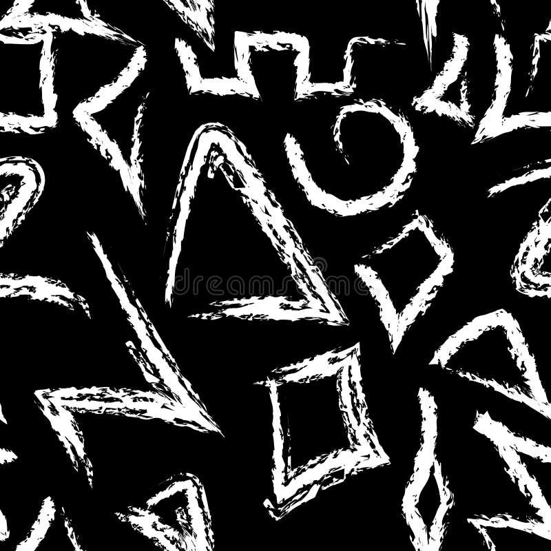 Modelo inconsútil del vector tribal azteca nativo del estilo Gru geométrico stock de ilustración